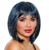 Perruque bob bleu scintillant